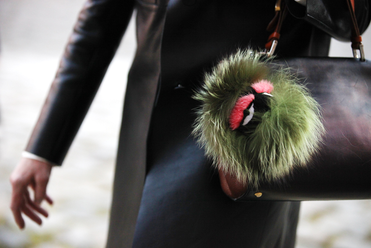 Fendi Fur Monster Charm at PFW by @offcatwalk