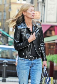 Kate Moss wearing a classic Saint Laurent biker