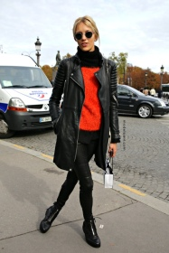 Polish model Anja Rubik wearing my favourite combination of bright red and leather
