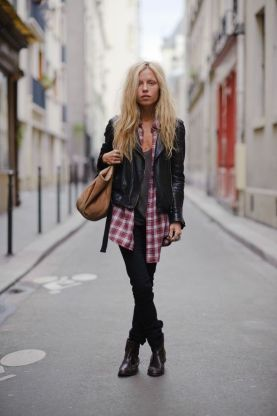 French blogger and designer Margaux Lonnberg going for the ultimate laid back weekend look in a biker and oversized lumberjack shirt