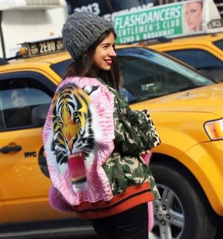 Natasha Goldenberg in a subtle varsity jacket