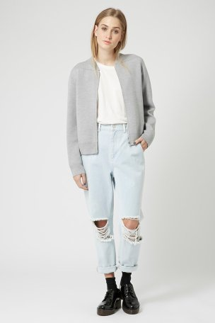 Topshop, Merino Wool Knit Zip Bomber Jacket by Boutique, £130.00 www.topshop.com