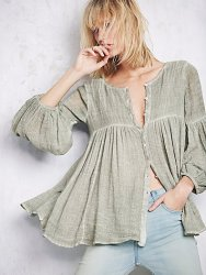 Washed Gauzy Peasant Top