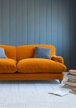 An orange and blue interior