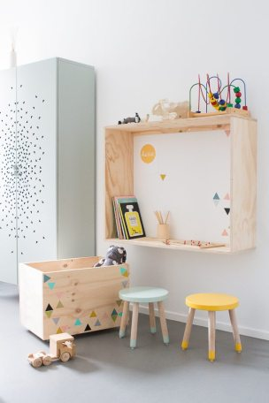 Quirky shelving and funky toy box